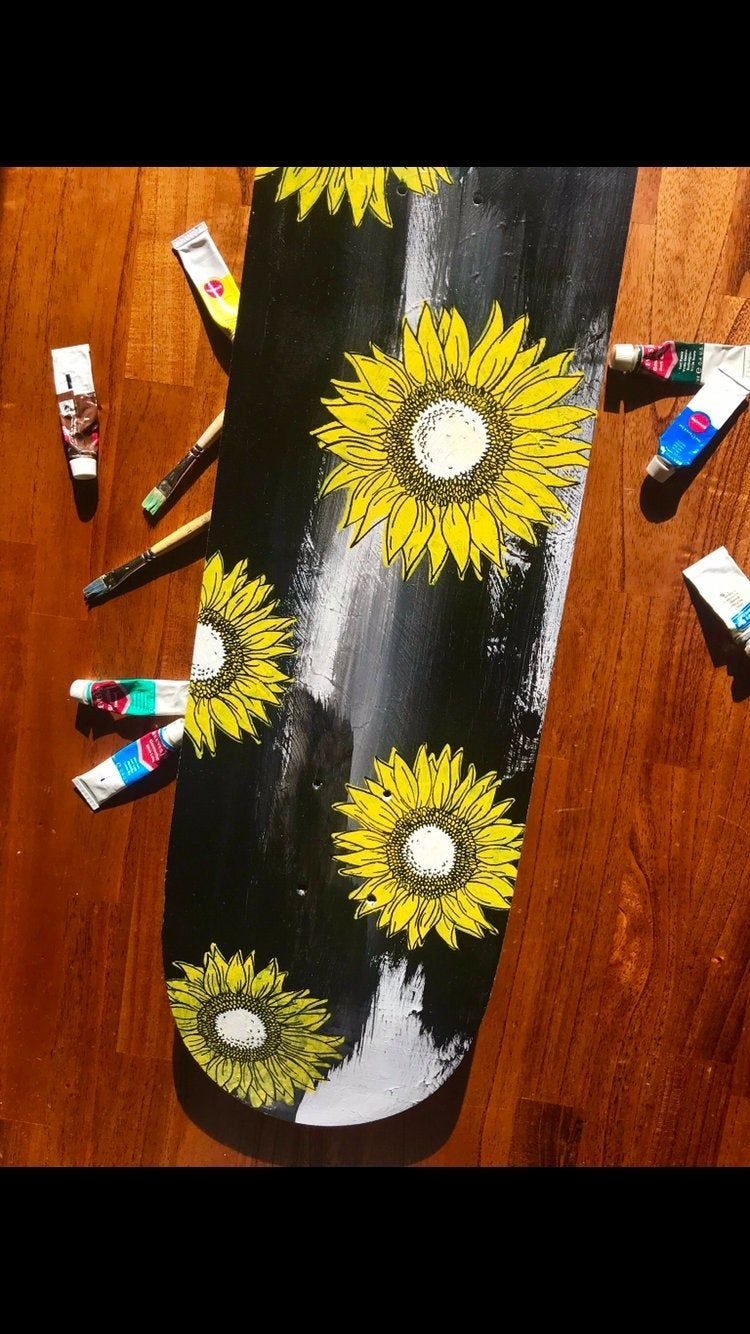 SKATEBOARD DECK - Wallart - Skateboard - Bedroom Decor - Deck - skate - sunflower