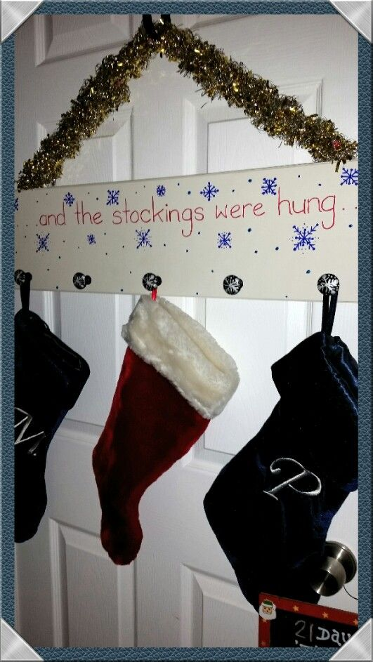 """""""..and the stockings were hung.."""" (Used white drawer front, black knobs,  acrylic paint)"""