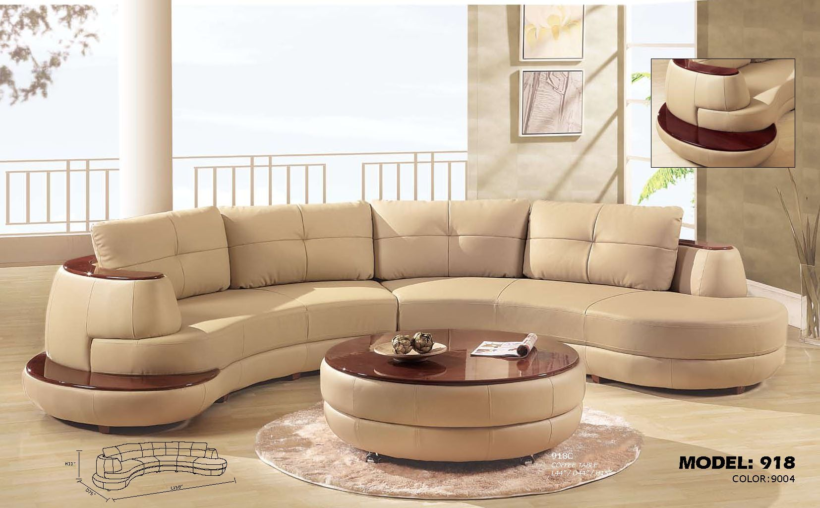 Elegant Living Room Design With Simple Beige Curved Sectional Sofa