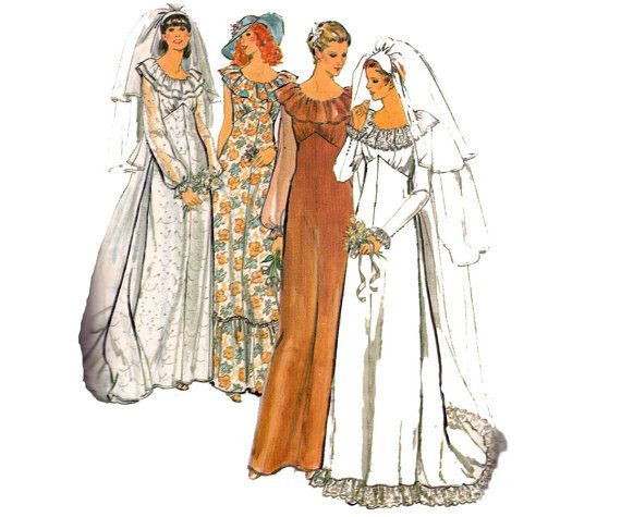 70s Retro Wedding Dress Pattern Butterick 6515 Bridal Gown and Veil ...