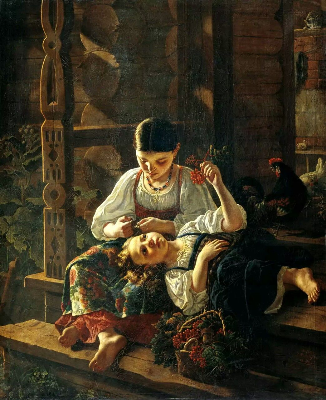 Ростислав Иванович Фелицин (1820–1882).  На крыльце избы  . 1855