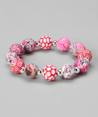 Take a look at this Pink Chunky Silver Ball Stretch Bracelet by Viva Beads on #zulily today!