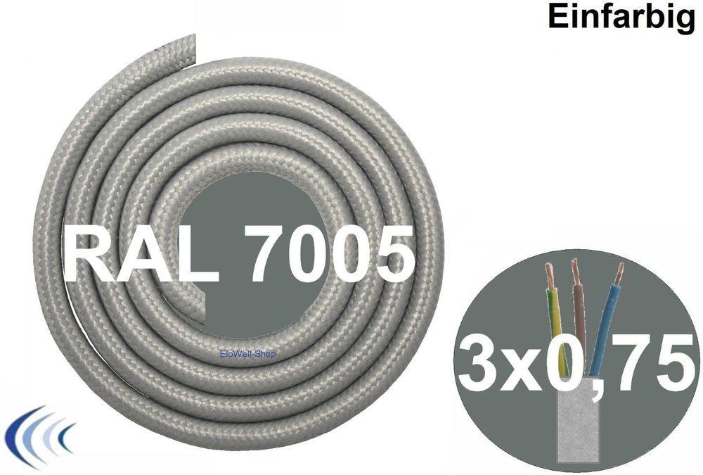 Textilleitung rund 3x0,75 mm² grau RAL7005 Synthetikgeflecht Textilkabel Leuchte