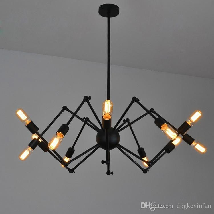 Spider chandelier vintage wrought iron pendant lamp loft american spider chandelier vintage wrought iron pendant lamp loft american style lighting fixture 812 lights iron pendant light cylinder pendant light from aloadofball Image collections