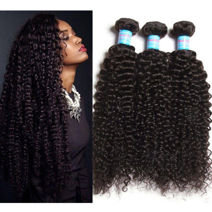 100 7a Brazilian Virgin Human Hair Weft Extension 13bundle Curly
