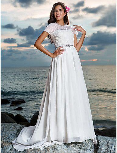 Sheath/Column Jewel Natural Court Train Short Sleeve Zipper Chiffon Illusion Beach/Destination Wedding Dress #169593(More color option)