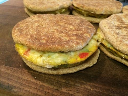 """My take on the Special K Flatbread Sandwiches.  Local """"special j's.""""  Egg bake is super easy and simple.  Great for freezing and on the go grabs.  Muffin top tin success. Awesome clean eating option"""