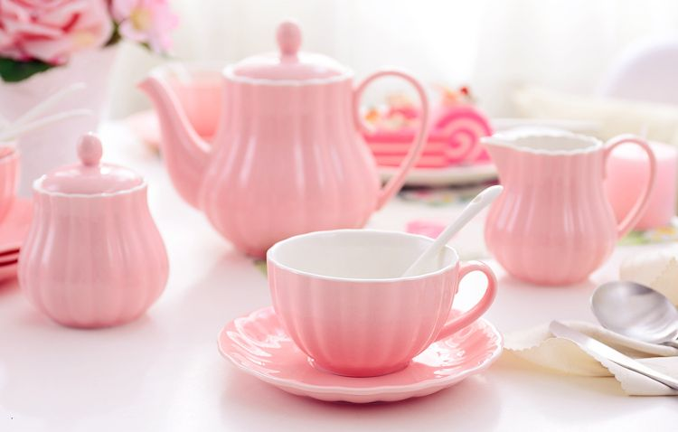Solid Color Porcelain Tea Sets Of 15 For Parties Pink Tea Set
