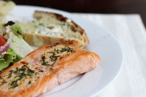 Salmon with Basil-Lemon-Garlic Compound Butter by foodiebride, via Flickr
