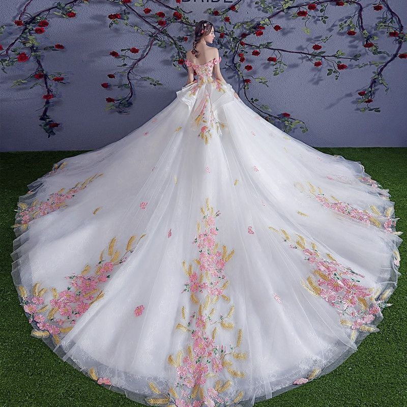 Chic Beautiful Multi Colors Wedding Dresses 2018 Ball Gown Appliques Crystal Off The Shoulder Backless Sleeveless Royal Train Wedding Colored Wedding Dresses Wedding Dresses Romantic Wedding Dresses With Flowers