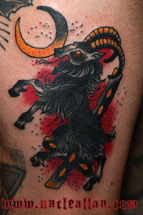 goat moon tattoo | devils, goats, baphomet, and krampus ...