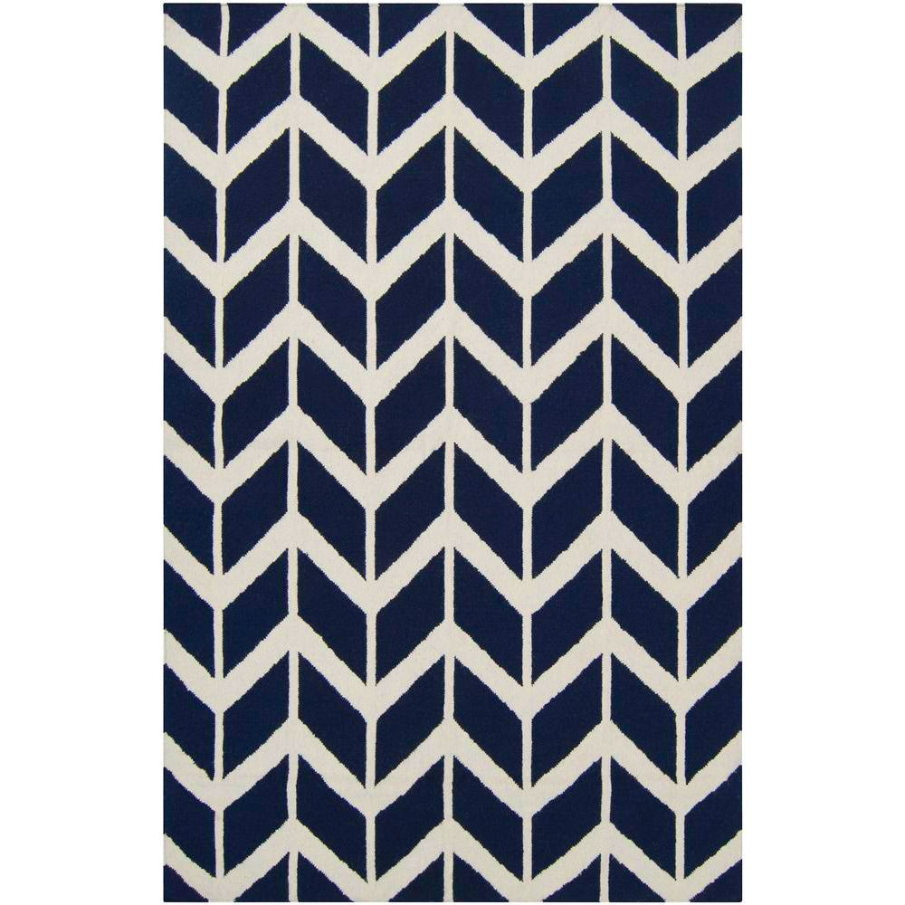 This Jimmy Fallon Zig Zag Federal Blue Hand Woven Wool Rug Will Play Nicely With The Other Bits Of Flare Google Chevron For Options