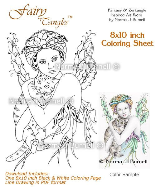 Cat's Cradle Fairy Tangles Coloring Sheet by FairyTangleArt