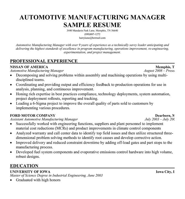 Resume Objective Production Manager  Riez Sample Resumes