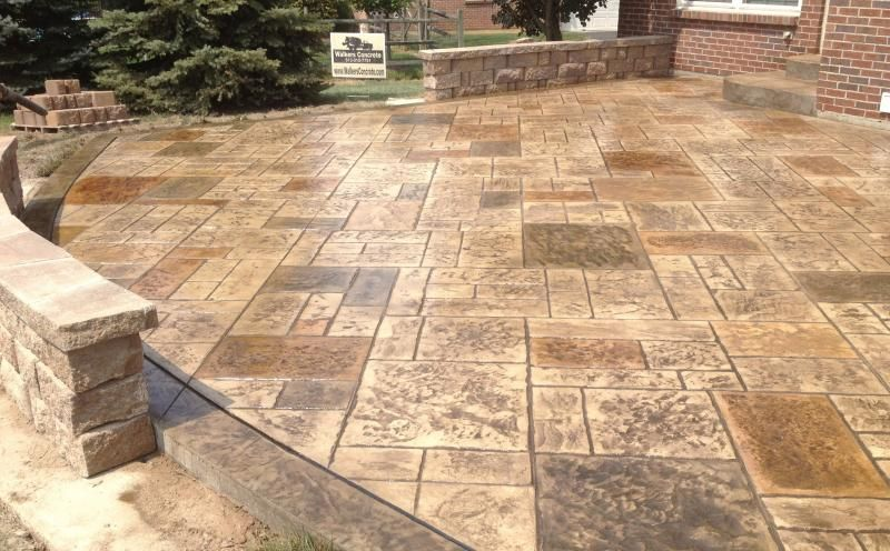 Amazing Stamped Concrete Patio With Seating Walls Cincinnati