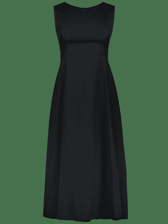 ee6c82b2436 Long A Line Sleeveless Semi Formal Plain Prom Dress - BLACK L