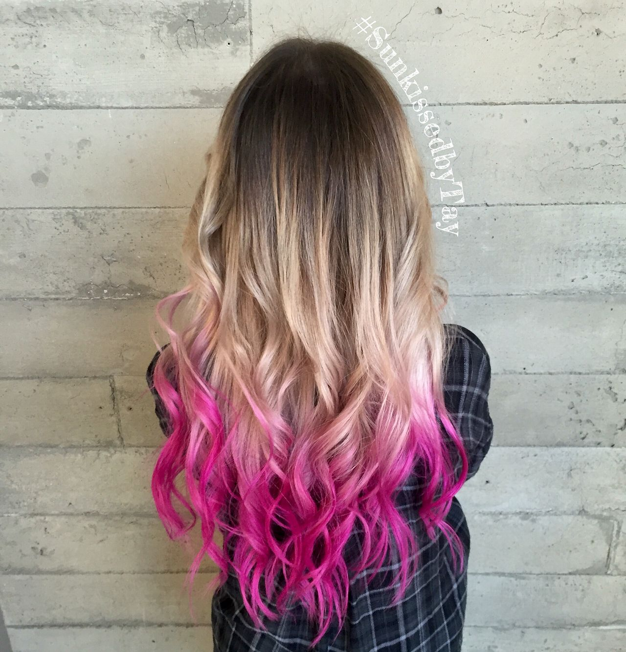 Color Melt Blonde With Pink Tips Dyed Blonde Hair Pink Hair