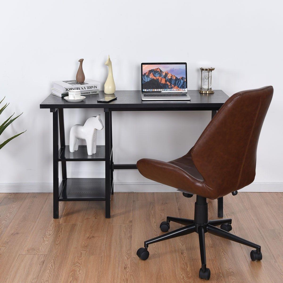 Modern Writing Laptop Trestle Computer Desk with Shelf