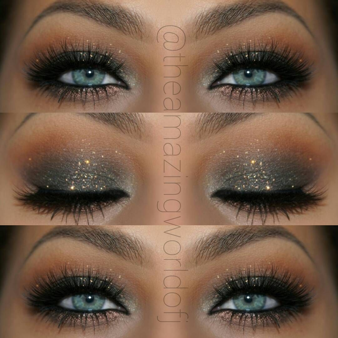 elegant glitter smokey eye makeup that makes her blue eyes