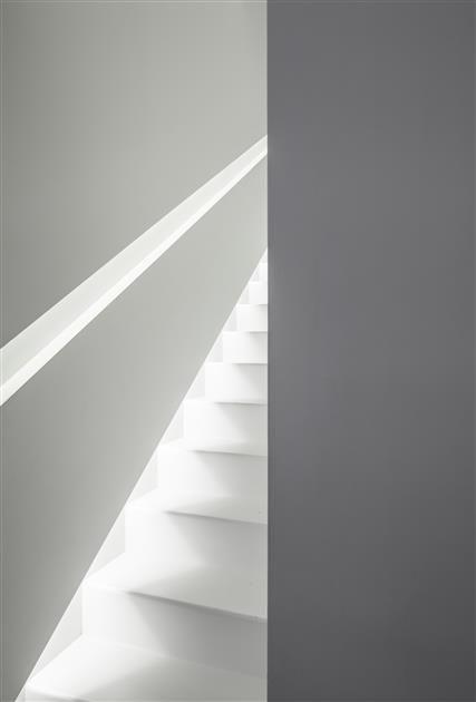 Lighting Basement Washroom Stairs: Modern Stairs // White Stairs With Minimalist Handrail
