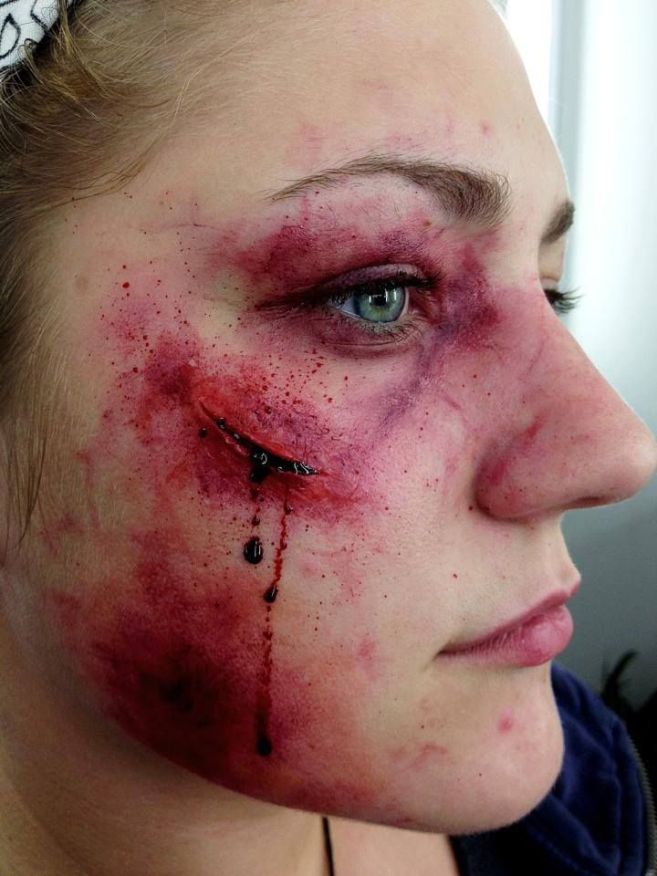 Beaten up makeup on Samantha, close up