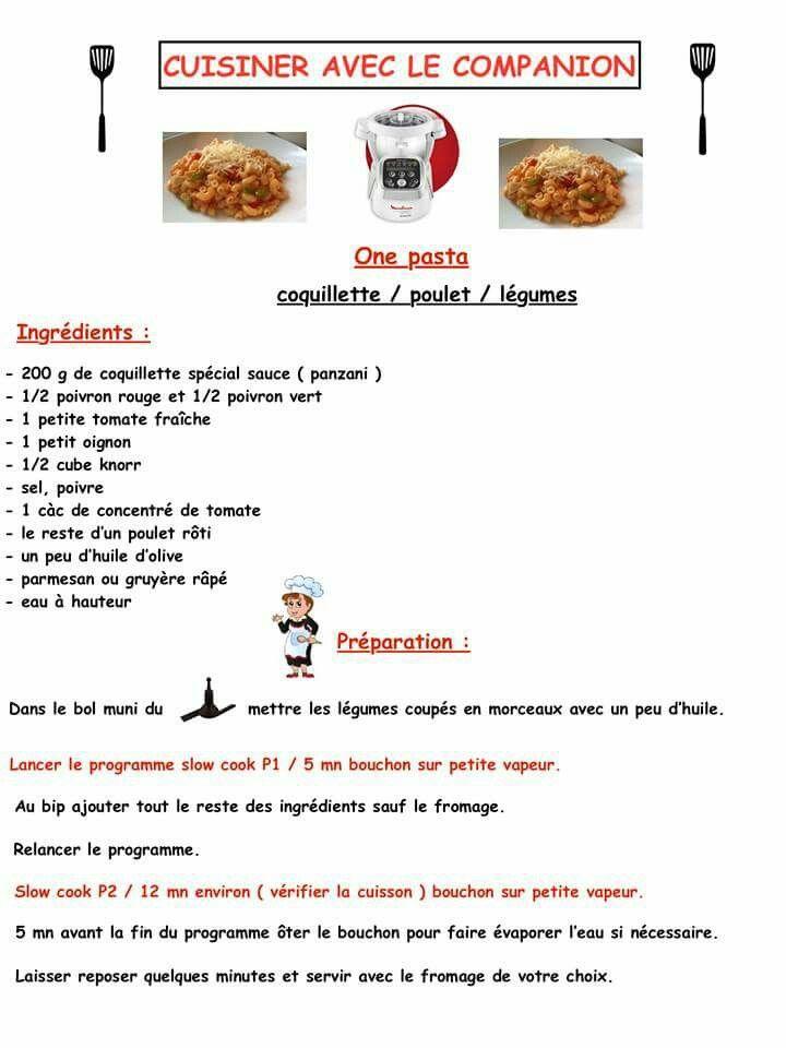 Pates poulet légumes recette salée au companion Pinterest