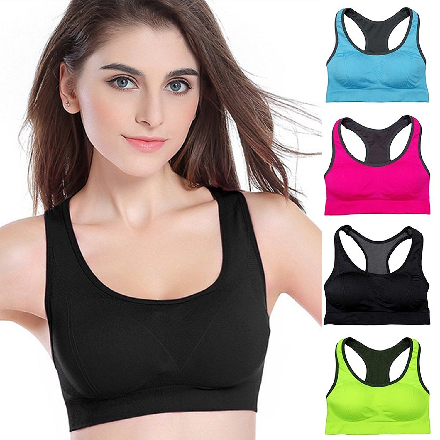 287c12d5d Padded Sports Bras Wire Free High Impact Support Seamless Yoga bra Price    6.99