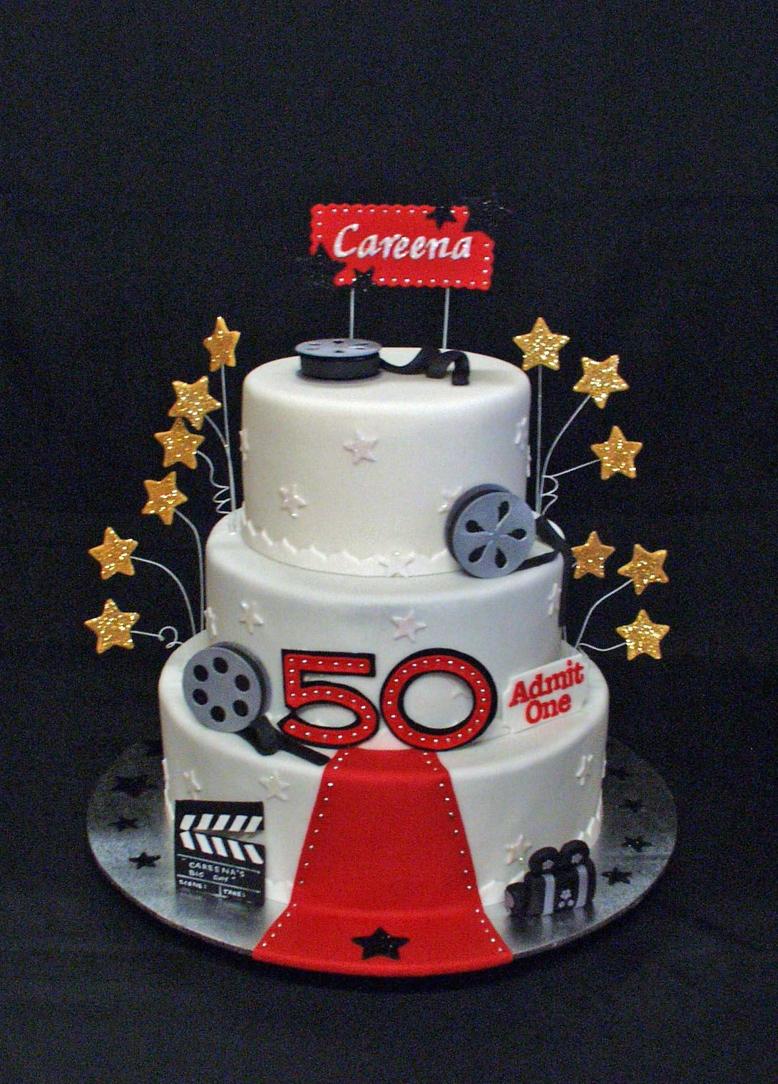 Fine Hollywood Themed 50Th Birthday Cake With Images 50Th Birthday Funny Birthday Cards Online Alyptdamsfinfo