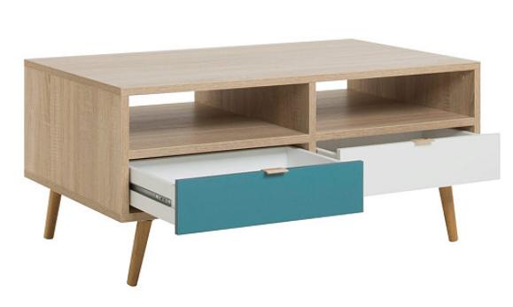 Scandinave Basse Table Et Aruba ChêneBleu Blanc A3RjL54