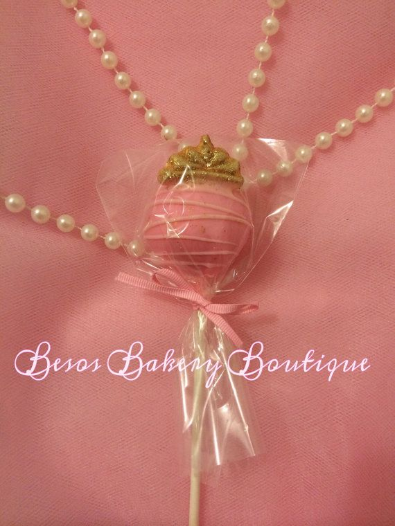 12 cake pops with mini tiara by BesosBakeryBoutique on Etsy, $21.00