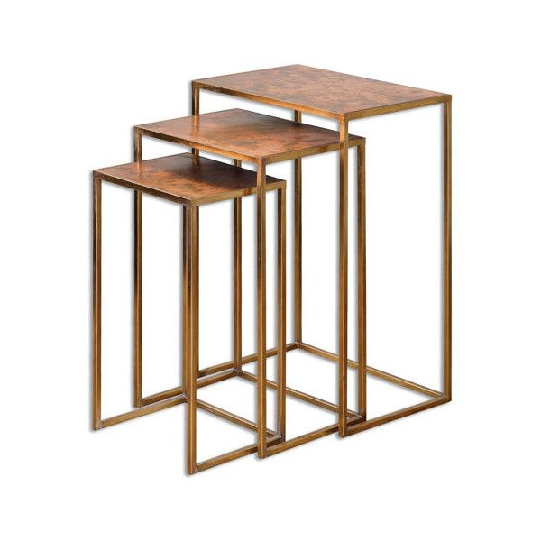 Uttermost Copres Oxidized Copper Nesting Table Set Of Three 293