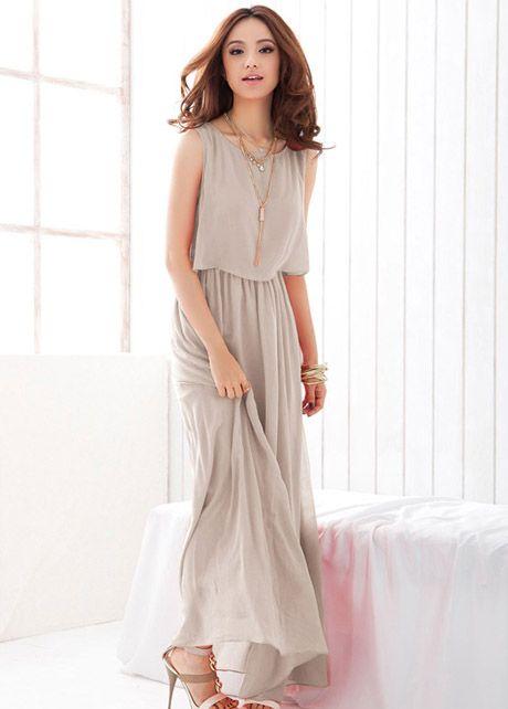 Chiffon Sleeveless High Waist Prom Dress - Light Grey