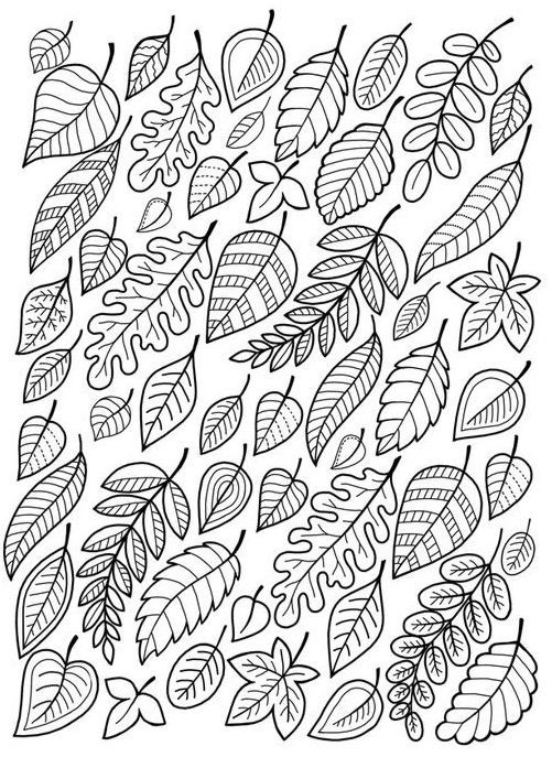 Fall Coloring Pages eBook: Falling Leaves Coloring Page #fallcolors