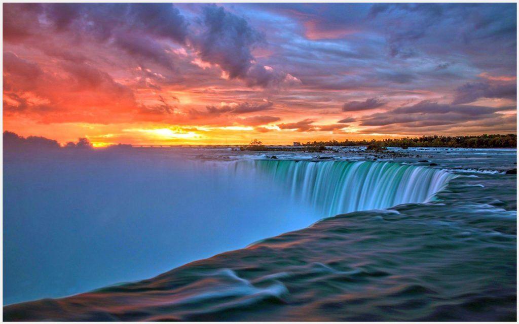 Waterfalls Wallpapers 1080p: Waterfall Sunset Background Wallpaper