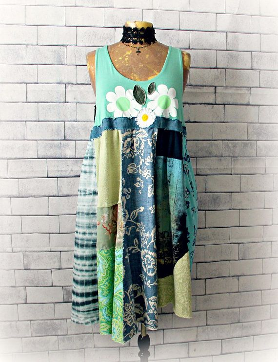 081643edfd Bohemian Sundress Green Patchwork Dress Recycled Upcycled