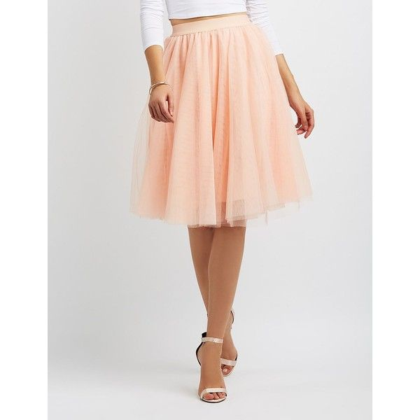 57cd995c0e Charlotte Russe Tulle Full Midi Skirt ($27) ❤ liked on Polyvore featuring  skirts, blush, high rise skirts, elastic waistband skirt, high waisted tulle  ...
