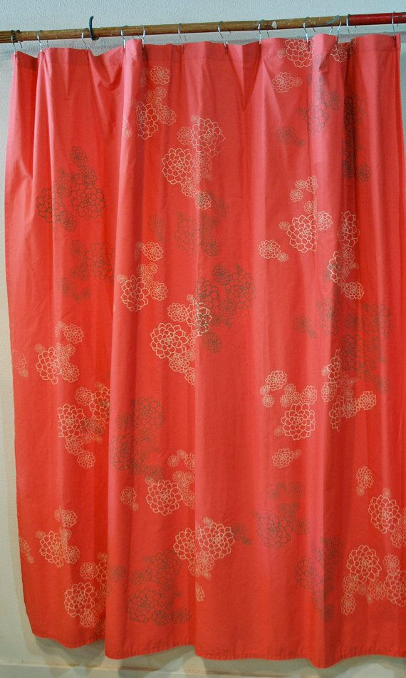 Bright Coral Pink Shower Curtain With Rosetta Print In Creme And Grey Brown