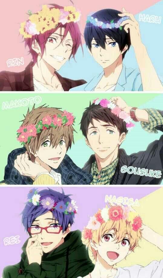 Rin Haruka Makoto Sousuke Nagisa Rei Flowers Text Free