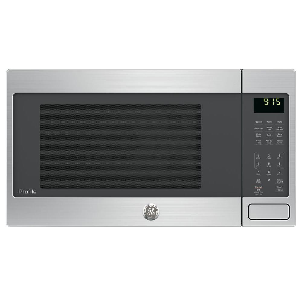 Ge Profile 1 5 Cu Ft Countertop Convection Microwave Oven In Stainless Steel Silver Microwave Convection Oven Countertop Microwave Oven Countertop Microwave
