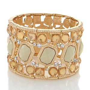 Hsn Jewelry Boxes Enchanting Susan Lucci Multistone Goldtone Wide Stretch Bracelet At Hsn Design Ideas