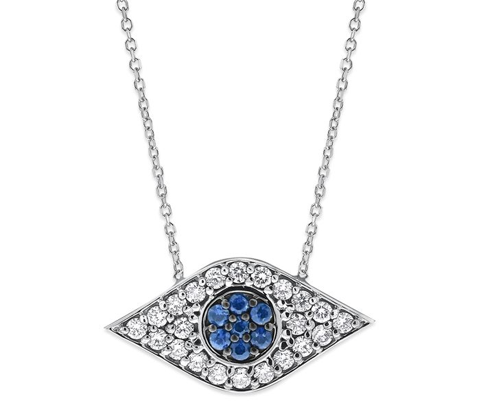 KC Designs 14k white gold evil eye amulet pendant with sapphires and diamonds; $1,450 #KCDesigns #whitegold #sapphires #diamonds