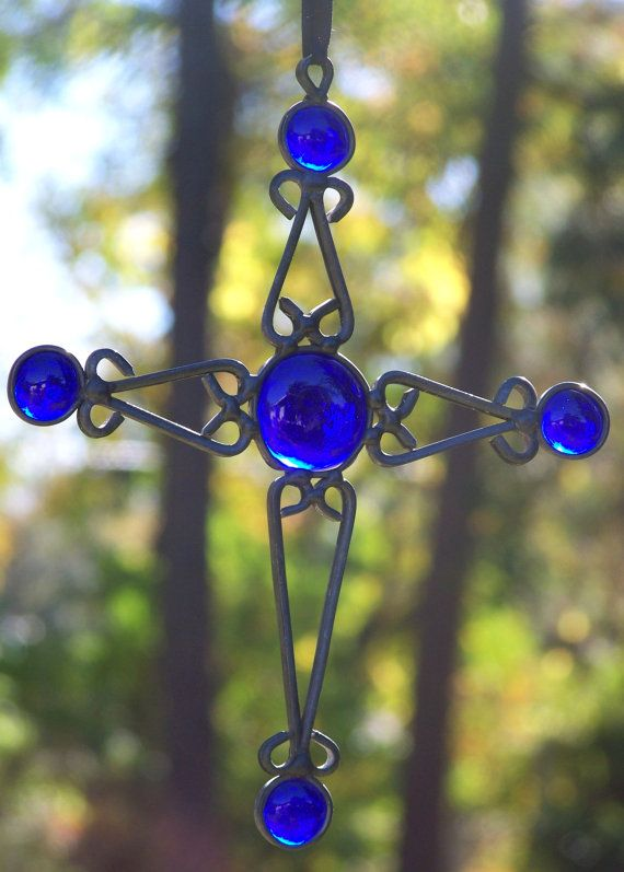 Stained Glass Cross Cobalt Blue Handmade Christmas Birthday