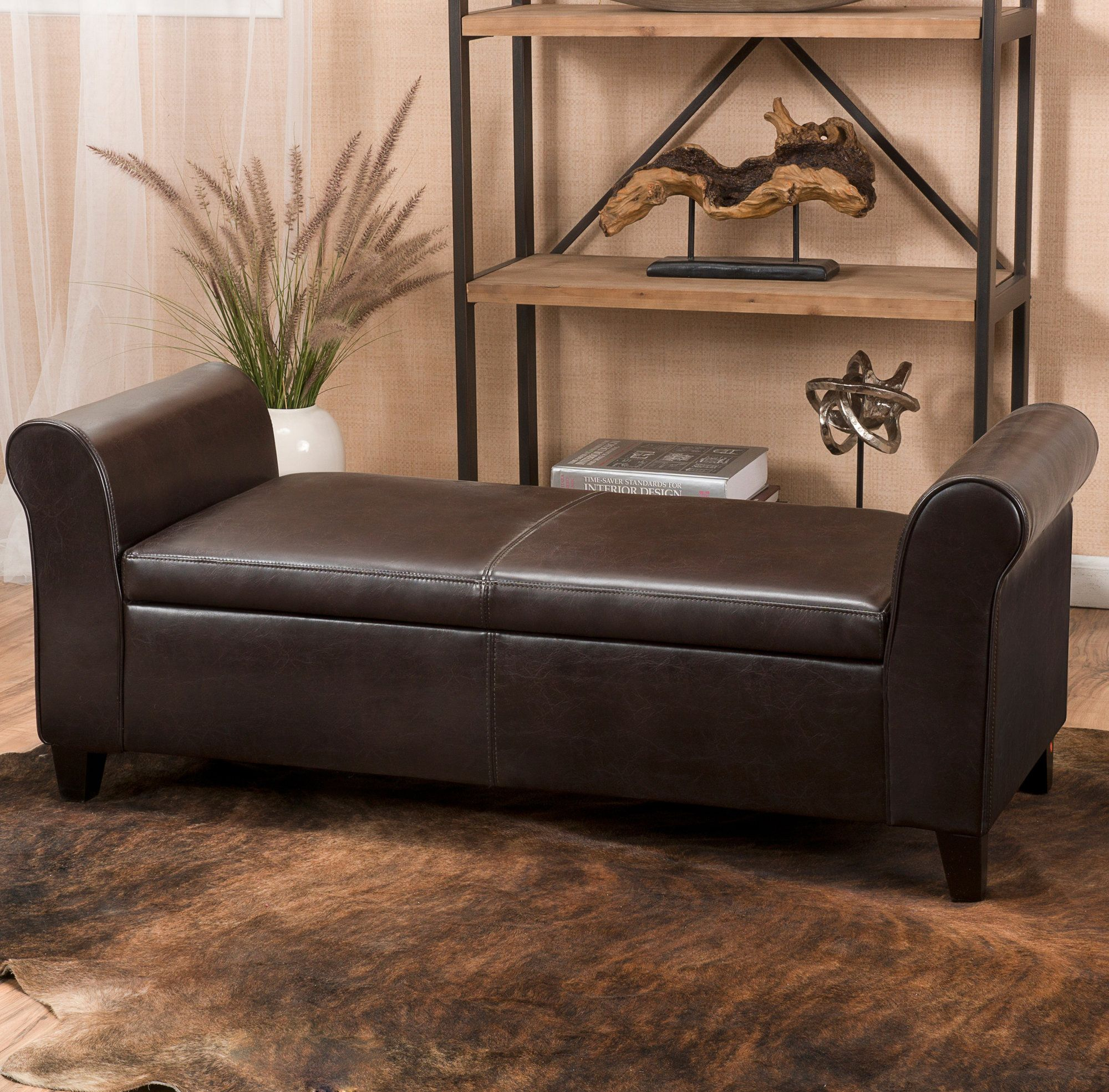 Varian Faux Leather Flip Top Storage Bench Bench With Storage Luxury Home Furniture Bedroom Storage