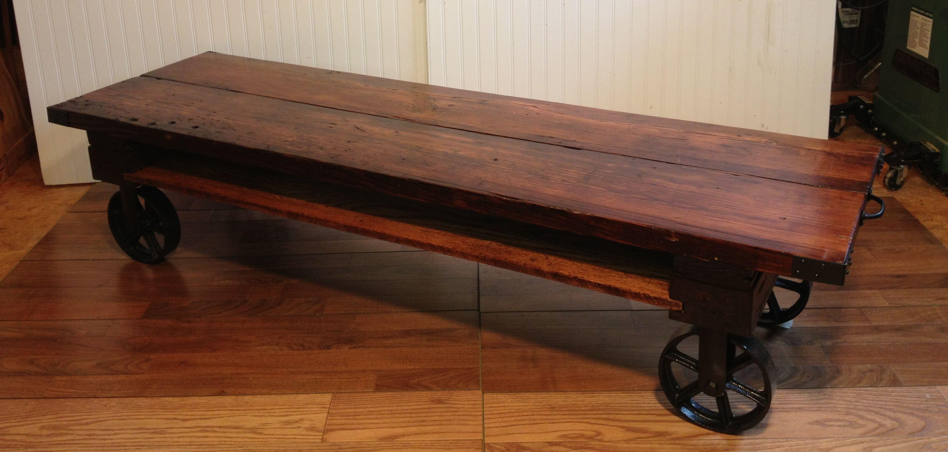 - Living Room. Glossy Dark Brown Wooden Surface Of Industrial Coffee