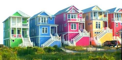 Colorful Houses On The Crystal Coast Of