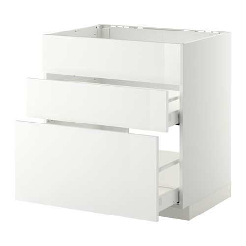 METOD Base cab f sink+3 fronts/2 drawers - white, Ringhult high-gloss white, 80x60x80 cm - IKEA