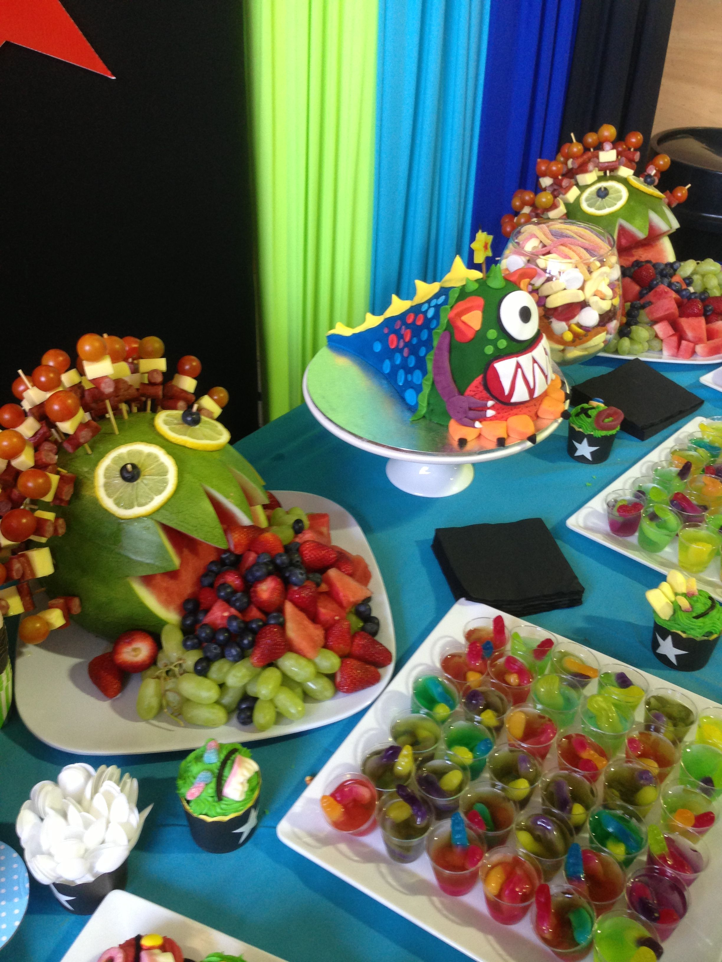 Monster Party Food Also Check Out My Site Www Partiesandfun Etsy Com For More Ideas Halloween Food For Party Monster Party Food Monster Birthday Parties