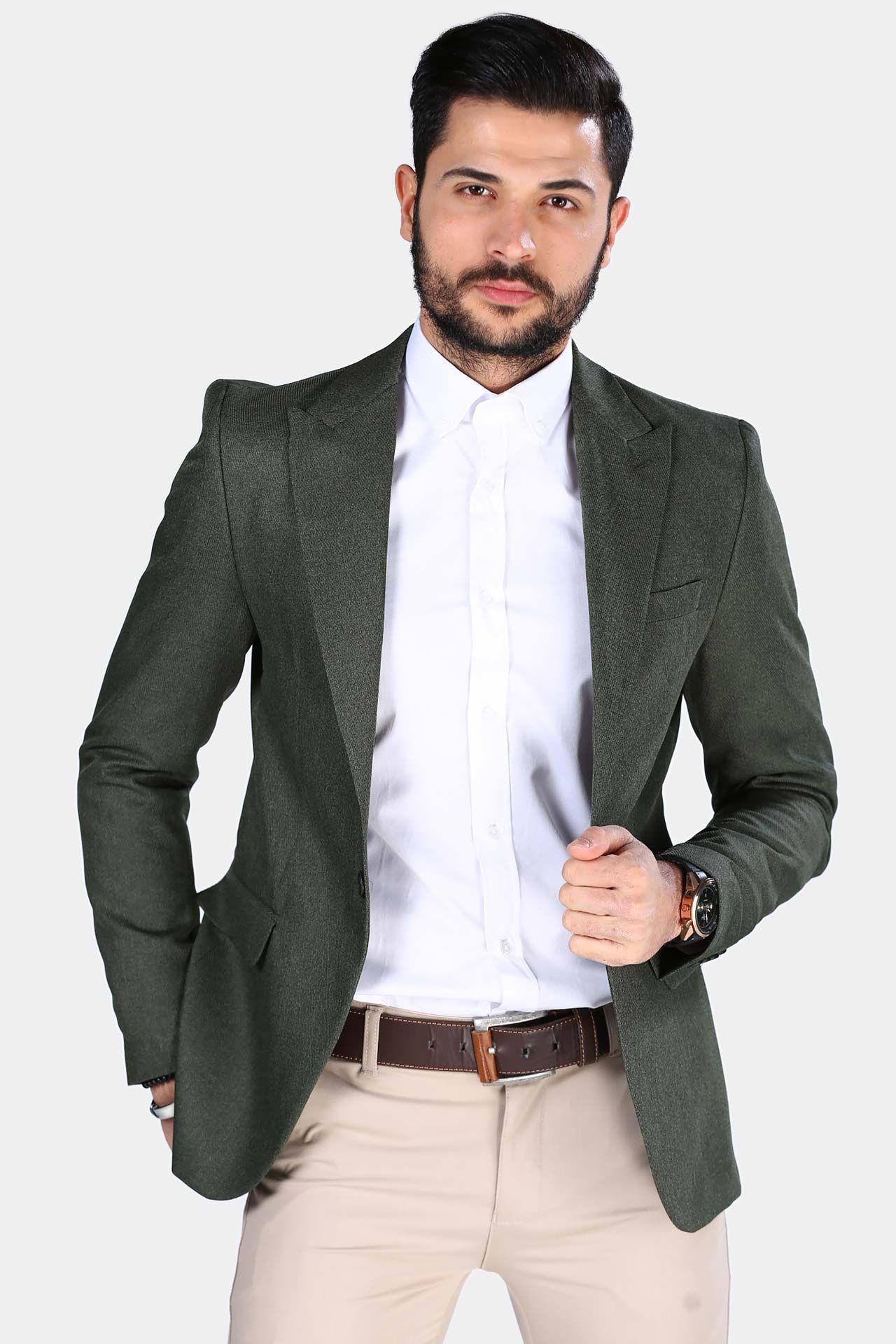 جاكيت بليزر كاكي رجالي Khaki Blazer Blazer Blazer Jacket