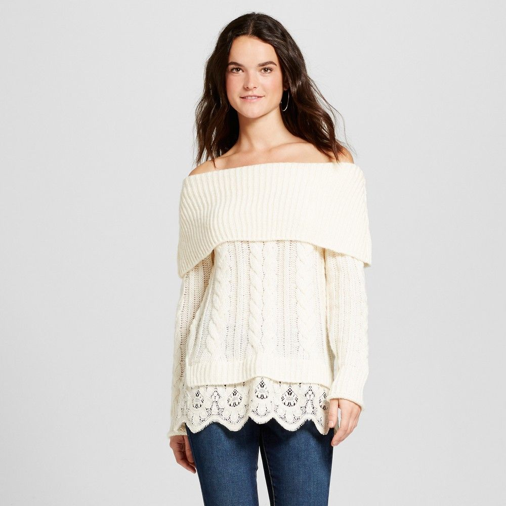 Women's Lace Twofer Cable Knit Sweater - Knox Rose Ivory Xxl ...