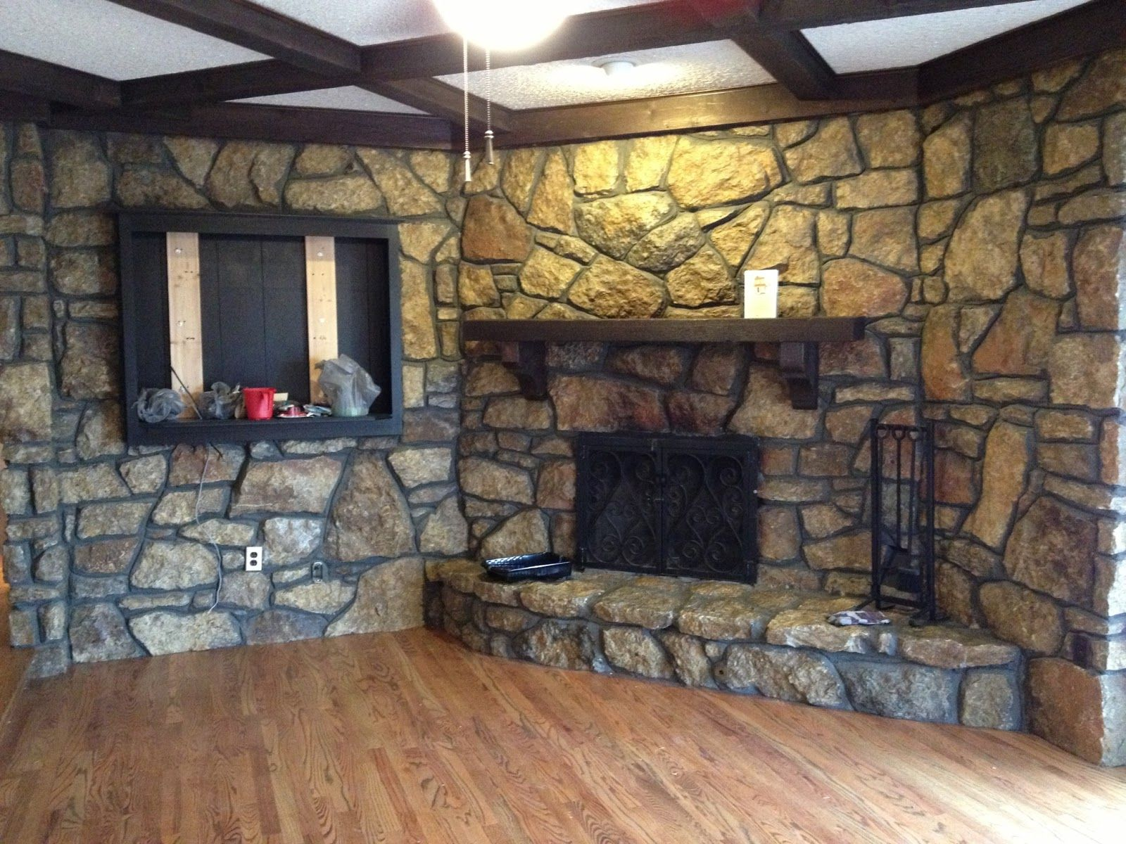 how to clean fake stone fireplace